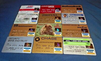 12 expired vintage Visa credit cards card lot for collectors used & unused NM-M