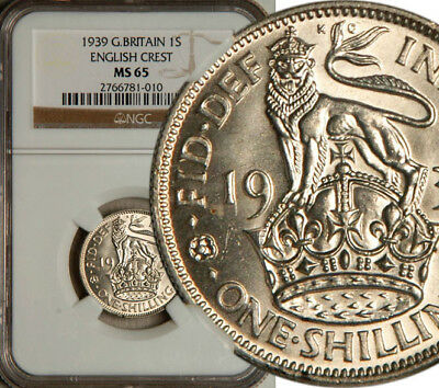 Ngc Ms-65 Great Britain Silver 1 Shilling 1939 (English Crest) Highest! Pop: 1/0