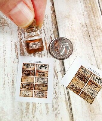 1:12th Dollhouse Miniature Halloween Potion Bottle Labels, Graveyard, 3 Sheets