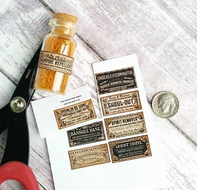 1:6 Miniature Halloween Potion Bottle Labels, 1 Inch, Gremlin, 3 Sheets, 1:4th