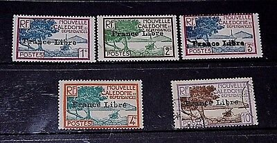 New Caledonia 1941 De Gaule Issues Opted France Libre  10F F/u,rest M/n/h