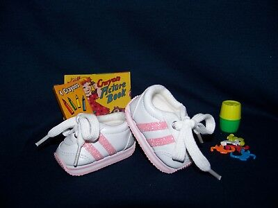 Shoes To Fit The American Galoob Baby Face Girl Pink Stripe Mini Sketz Tennis