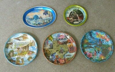 Advertising tray lot 5 total metal souvenirs Disney Nashville Dells Texas Hawaii