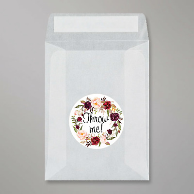 Glassine Bags & Throw Me floral stickers For Wedding Confetti peel and seal