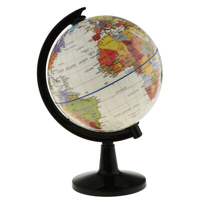 White World Globe with Stand for Home Office Decor School Science Educ 16cm
