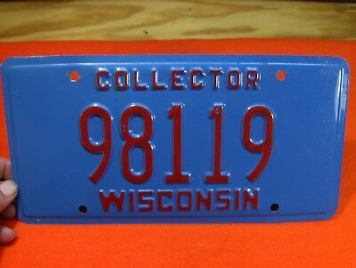 Red On Blue  Wisconsin Car License Plate  Collector Tag 98119
