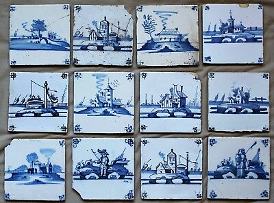 12 18th c. Delft Blue & White Tiles (Scenes:Homes,Churches,Well,Warrior,Fisher)