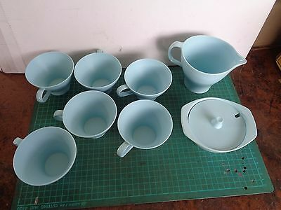 Vintage BESSEMER  cups x6, jug , sugar bowl, pale blue