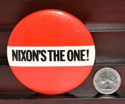 Rare Vintage Nixon's The One Presidential Campaign Pinback Design Large 3""