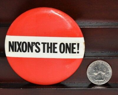 "Rare Vintage Nixon's The One Presidential Campaign Pinback Design Large 3"" #2"