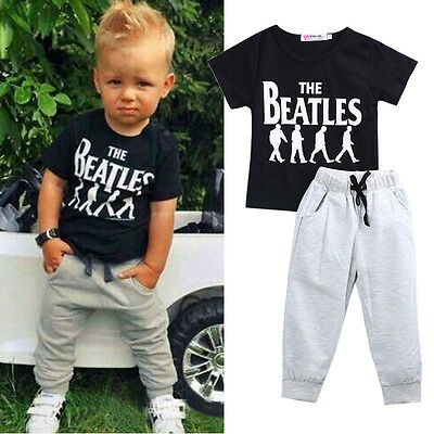 USA 2PCS Causal Kids Baby Boy Clothes T-Shirt+Trousers Sports Pants Outfit 2-6Y