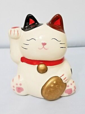 Japanese-Lucky-Cat-Beckoning-Ceramic-GOOD-FORTUNE-SUCCESS