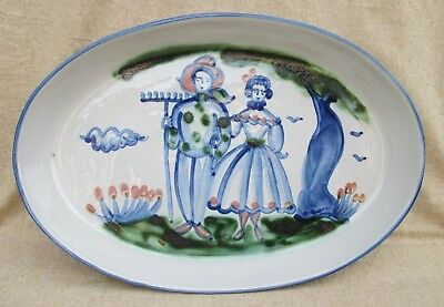 "M A Hadley Farmer and Wife Large Oval Platter 16 1/4"" x 11"""