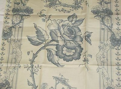 "Coraggio Textiles CHINOISERIES Fabric Remnant Linen Cotton 27.5 x 25.5"" France"