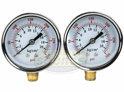 "Two 1/4"" 0-300 PSI 2.5"" Side / Lower Mount Air Pressure Gauge Compressor Water"
