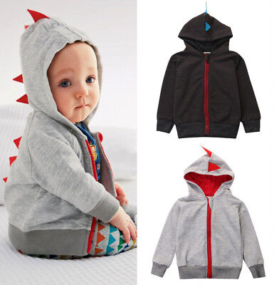 AU Dinosaur Hooded Kid Baby Boy Clothes Long sleeve Hoodie Tops Jacket Coat 0~3Y