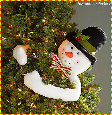 Snowman Hugger Christmas Tree Topper Holiday Festive Ornament Decoration Frosty