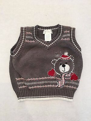 Winter Teddy Bear Sweater Vest - First Moments Layette - 3 Mo