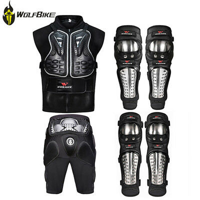 6PCS Motorcycle Jackets Hip Pad Motocross Body Armor Metal Knee elbow Pads