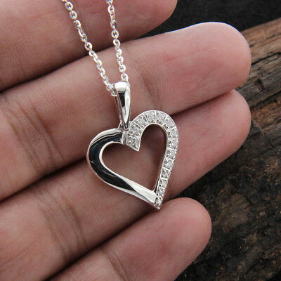1/5ct Round Diamond Heart Pendant Necklace 925 Sterling Silver 14k White Gold FN