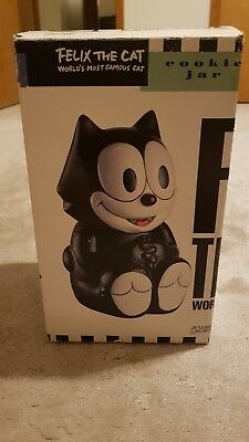 Felix The Cat Cookie Jar Benjamin & Medwin Black Cat Treats Cookie Canister 1991