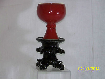 Chinese Ming Dy Wanli Reign Mark Chun Red Glaze Libation Cup w/Stem Base