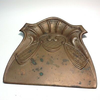 Antique Victorian Art Nouveau Copper Crumb Tray Dust Pan