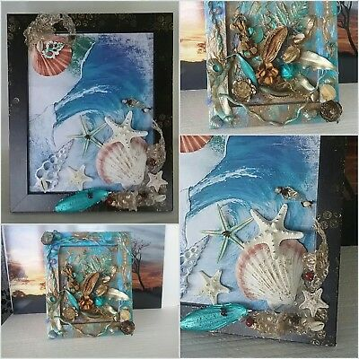 AUST HANDMADE Mixed Media Shell  and Botanical Collages