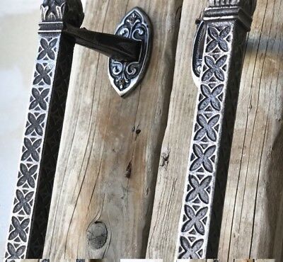 "Pair of Gothic 16"" Vintage Custom Cast Iron Door Pulls Heavy Duty Ornate Design"