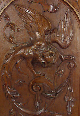 French antique panel carved griffin griffon manticore chimeras lion