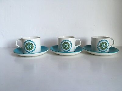 Vintage Meakin Studio Coffee Cups And Saucers X 3