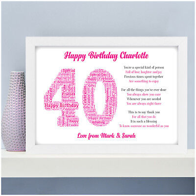 Personalised 40th 50th 60th 70th Birthday Gifts For Her Women Mum Wife Poem Gift
