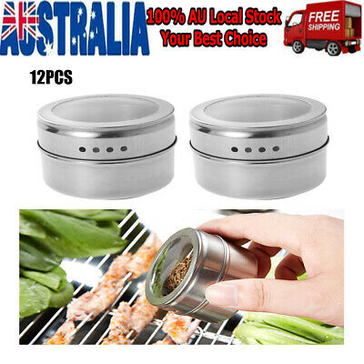 12Pcs Magnetic Spice Tin Stainless Steel Storage Container Jar Clear Lid Set