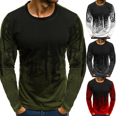 USA Men Long Sleeve Blouse T-shirt Round Neck Shirts Casual Slim Fit Tee Tops