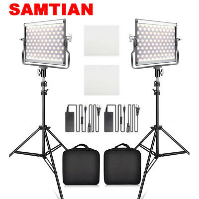 SAMTIAN 2-Pack Dimmable Bi-color LED Video Photo Camera Light+ Light Stand Kits