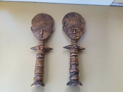 2 CARVED WOODEN FIGURES-TRIBaL - PROBABLY  pacific region