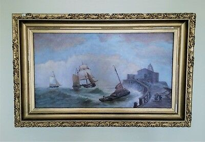 Antique 19th Century Framed Oil Painting 'Plymouth Dock' Devonshire England
