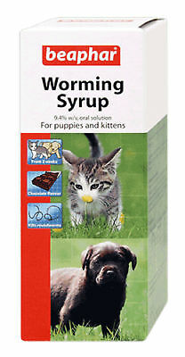 Beaphar Worming Syrup for Puppies & Kittens 45ml kills Roundworm SAMEDAY Disp'