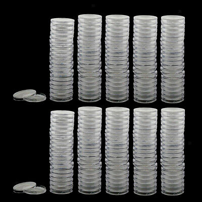 200pcs 28mm Plastic Coin Container Round Coin Case Capsules Boxes Holders