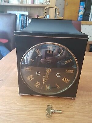 Smiths Black Rectangular Antique Mantle Clock - Needs Repair