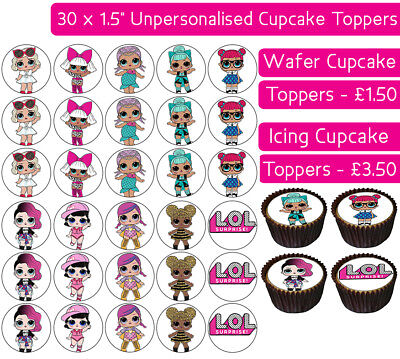 30 Lol Surprise Edible Wafer & Icing Cupcakes Toppers Birthday Party Childrens