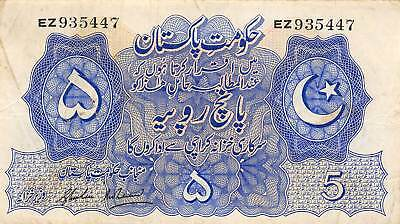 Pakistan  5  Rupees  ND. 1948  P 5  Series  EZ  Circulated Banknote M718F