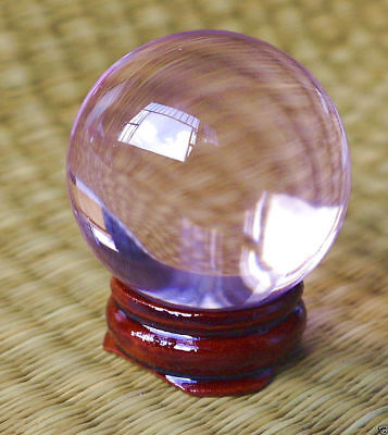 Asian Rare glass pink Magic Crystal Healing Ball Sphere 40mm+Stand