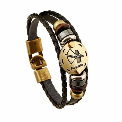 Fashionable Bronze Alloy Buckles Zodiac Signs Bracelet Punk Leather Bracelet