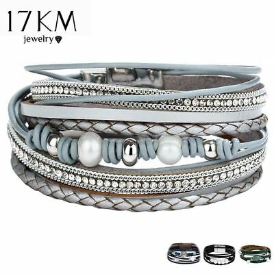Vintage Multiple Layers Leather Bracelets For Women Men New Simulated Pearl Fash