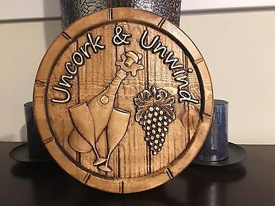 "Wood Carved Wine Plaque - with the saying ""Uncork & Unwind"" - Wine Lovers"