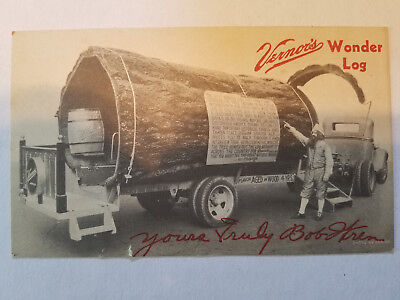 Vintage Vernor's Ginger Ale Wonder Log Advertising Original Postcard Free Ship!