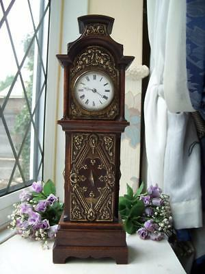 GLORIOUS ANTIQUE OAK & BRASS 8 DAY MINIATURE GRANDFATHER MANTLE CLOCK c1890