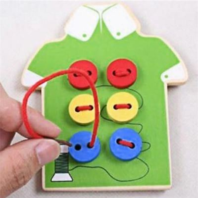 Kids Montessori Educational Toys Children Beads Lacing Board Wooden Toys Toddler