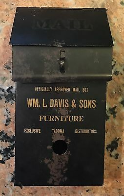 """Extremely Rare Early 1900's Advertising Mailbox Davis Furniture 9 5/8"""" T X 5"""" W"""